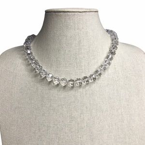 Vintage Taiwan Faceted Clear Beaded Choker